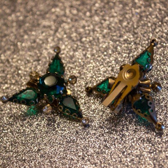 Vintage Green Stone and Rhinestone Earrings